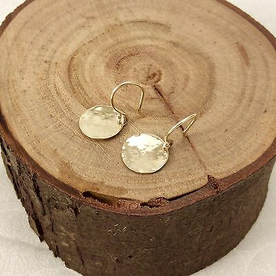Solid 9ct Yellow Gold 11mm Hammered Drop Disc Earrings