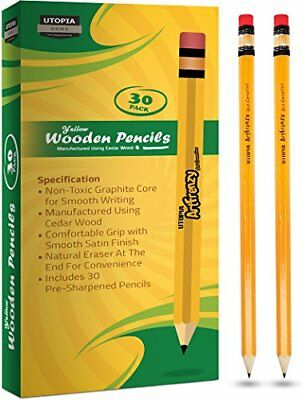 Pencils Pack of 30 Art Frenzy Wood-Cased 2HB  - Yellow Wooden Lead Pencils