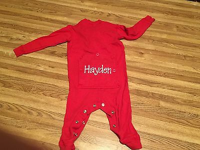 "Red Size 18 Months Boys Thermal Underwear Set Long Johns Personalized ""HAYDEN"""
