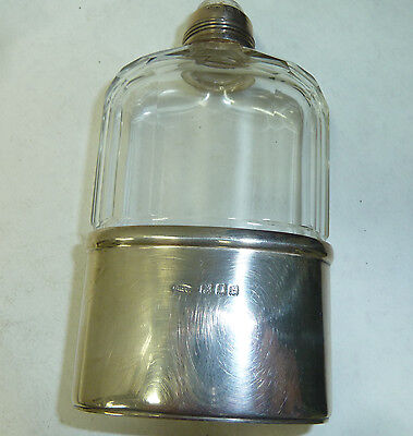 Antique Silver & Glass Medium Size Hip Flask Hallmarked 1918 London