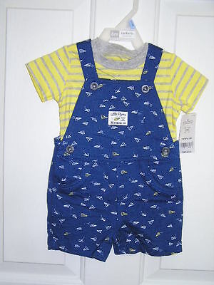 Carter's Baby Shortall Overall Set Boys  Soft-Sided 2Pcs Blue/yellow Size 6M Nwt