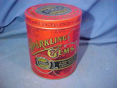 Early 20thc SPARKLING GEMS CANDY Advertising TIN w Litho Label RODDA CANDY Co