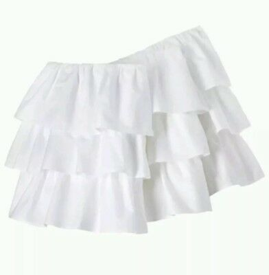 "Circo White Ruffled 3 Tiered Crib Bedskirt Dust Ruffle 14"" Drop"
