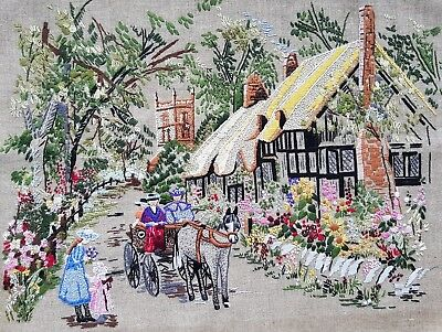 Beautiful Vintage Hand Embroidered Panel/Picture