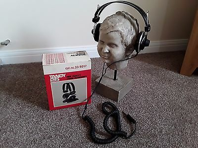 VINTAGE/RETRO REALISTIC TANDY 25 HIGH VELOCITY STEREO HEADPHONES 1980's BOXED