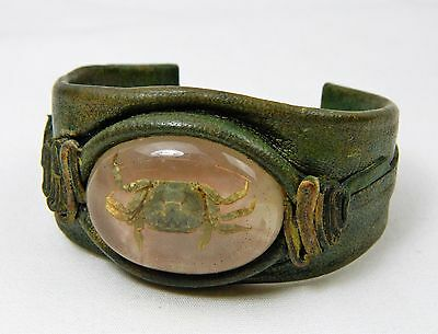 Leather Cuff Bracelet Lucite Real Crab Small Center Pink Green Beach Marine Sea