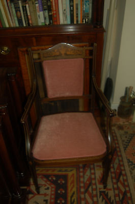 Antique  Edwardian Inlaid Roswood Open Arm Chair With Two Dragons Inlaid