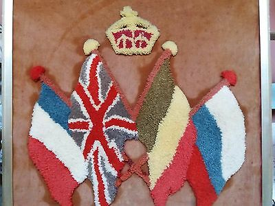Antique Ww1 Sampler Plush Work Flags Union Jack Commonwealth Hand Embroidery