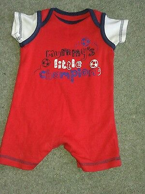 Baby Boys Red Football 'Mummy's little Champion 'Playsuit, Romper, First Size
