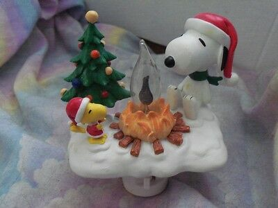 Peanuts Snoopy Woodstock Flickering Campfire-Night Light Nib+ Hallmark Ornament
