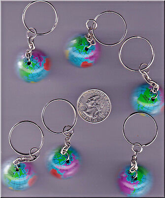 You Get 6 World Globe Metal Key Chains. U.s. Seller  - Kc2