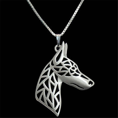 Artistic Silver Plated Doberman Pinscher Dog Charm Necklace Pendant Gift