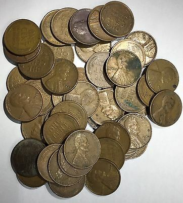 1 Roll (50 Coins) Circulated 1945-P Lincoln Wheat Cents