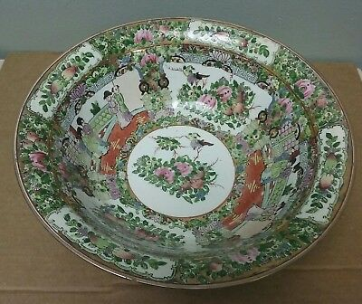 Very Large Vintage  Chinese Rose Famille Bowl Highly Decorated