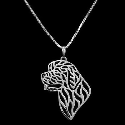 Artistic Silver Plated Newfoundland Dog Charm Necklace Pendant Gift