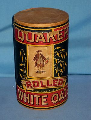 VTG QUAKER ROLLED WHITE OATS 1 1/4 LBS 20 oz Cardboard Canister Box Advertising!