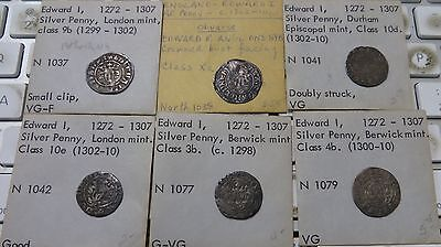 Lot of 6 Great Britain Silver Penny Edward I 1272-1307  North1037,38,41,42,77,79