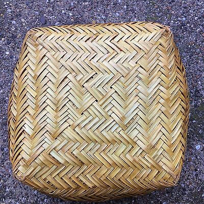 Large Hopi Double Weave Yucca Basket Round Top Square Bottom Native American