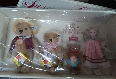 STEIFF Goldilocks and the 3 Bears tag 0173/22,18,14 Limited Edition 1985 signed