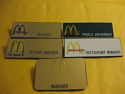 (5) diff.  McDONALDS employee Name Tags Crew Badges! w/ management titles!