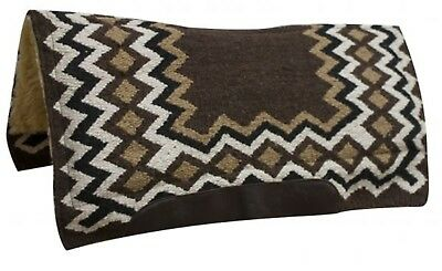 """Showman BROWN 34"""" x 36"""" Contoured Wool Top Cutter Style Saddle Pad! HORSE TACK!"""