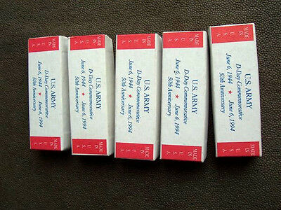 Lot of 5 Camillus U.S. Army D-Day Commemorative Empty Pocket Knife Boxes  4 1/8""