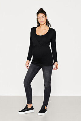 NEW Esprit Stretch long sleeve nursing top BLACK