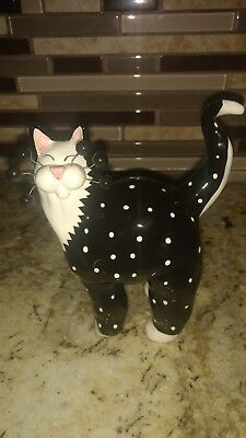 2001 Annaco Creations Amy LACOMBE WhimsiClay Cat Black w/white polka dots
