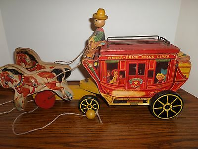 Vintage FISHER PRICE # 175 Gold Star STAGE COACH PULL TOY #2