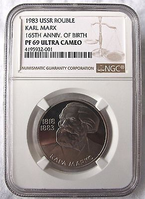 Russia USSR 1983 1 Roubles NGC PF-69ULTRA CAMEO Karl Marx