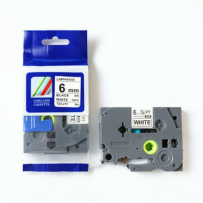 6mm 8m Black on White Label Tape Compatible for Brother TZ  TZe-211 TZe P Touch