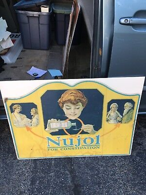 """1917 Rare 36"""" Nujol For Constipation Sign"""
