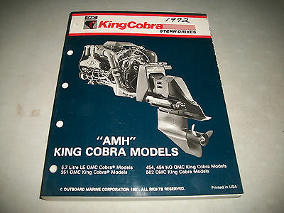 "1992 Omc Cobra Stern Drives ""amh"" Models Service Manual 8 Cylinder P/n 508149"