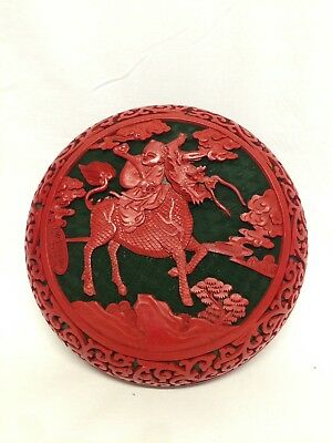 Vintage Chinese Fine Hand Craft Cinnabar Lacquer Box Child Riding Kirin Marked