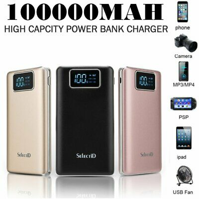 US 100000mAh Power Bank LCD Quick Charging Backup Battery Charger For Cell Phone