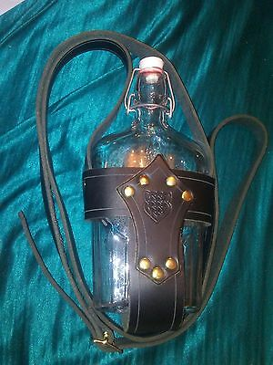 collectible leather crossbody bottle holder adj strap celtic design black EUC240