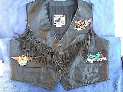 California Creations Leather Womens Motorcycle Vest With Rare Patches  (Santa Ro