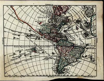 New World North South Americas Unknown Lands 1745 Lobeck Lotter antique map