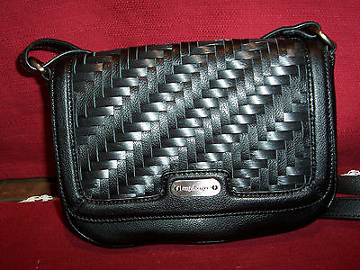 "Longaberger WVN LEATHER ""STAIRSTEP"" CROSSBODY BLACK PURSE!  NEW!  BIN!  SALE!"
