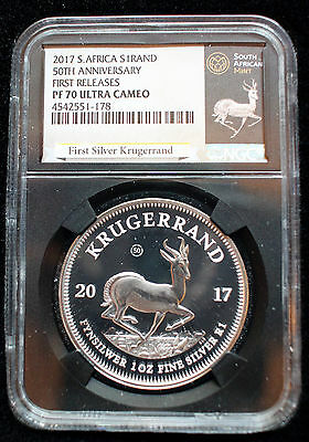 2017 South Africa Silver Krugerrand Pf70 Uc First Release 1 Ounce Silver Coin!!!