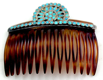 Rare Zuni Frank Dishta Hair Ornament Comb Turquoise Inlay early to mid-Century