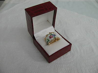 NORWAY Sterling Silver Enamel RING s 7 FLORAL #5576