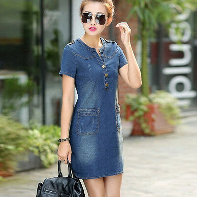 Summer Casual Women Lady Short Sleeve Denim Bodycon Jeans Dress Vintage Slim fit