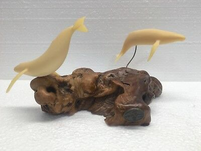 Vintage John Perry Whale Sculpture On Drift Wood-Clean-No Damage-Nice Piece!