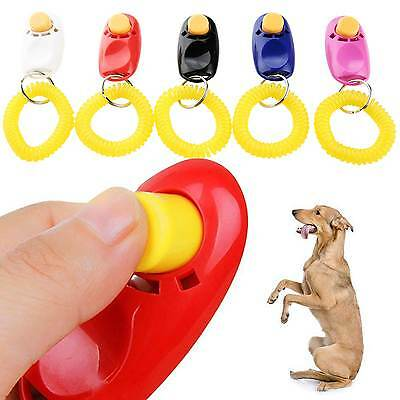Dog Pet Cat Puppy Button Click Clicker Training Trainer Aid Wrist Strap Guide UK