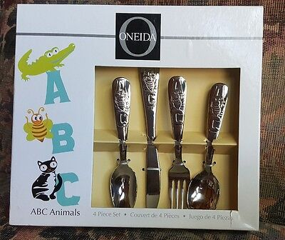 Oneida ABC Animals 4 Piece Childrens Silverware Set Stainless Steel T826004B NIB