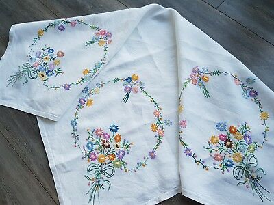 Beautiful Vintage Hand Embroidered Tablecloth with Flowers