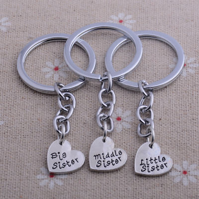 3PC/Set Sister Keyring Love Heart Best Friends Keychain Family Friendship Gifts