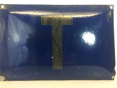 "Vintage Enamel Sign ""Letter T"" Blue Metal Sign Made in Poland Industrial Signage"