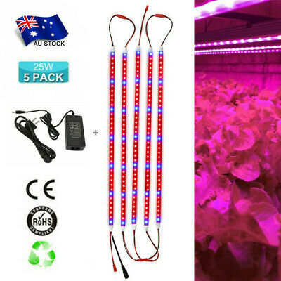 AU! 5pcs 0.5m 25W DC12V LED Soft Strip Plant Grow Light Hydroponics Fower Lamps